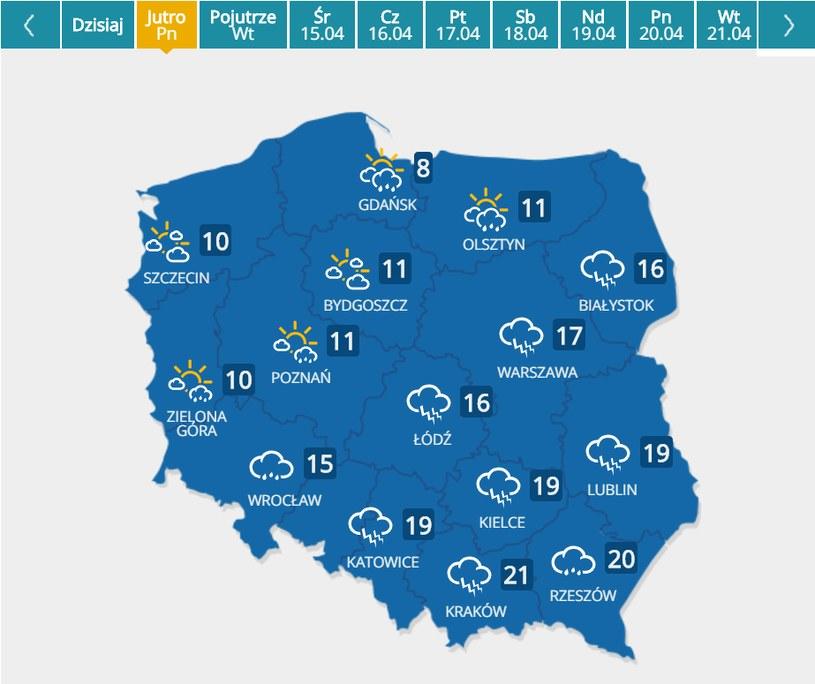 Poniedziałek Wielkanocny; prognoza pogody /INTERIA.PL