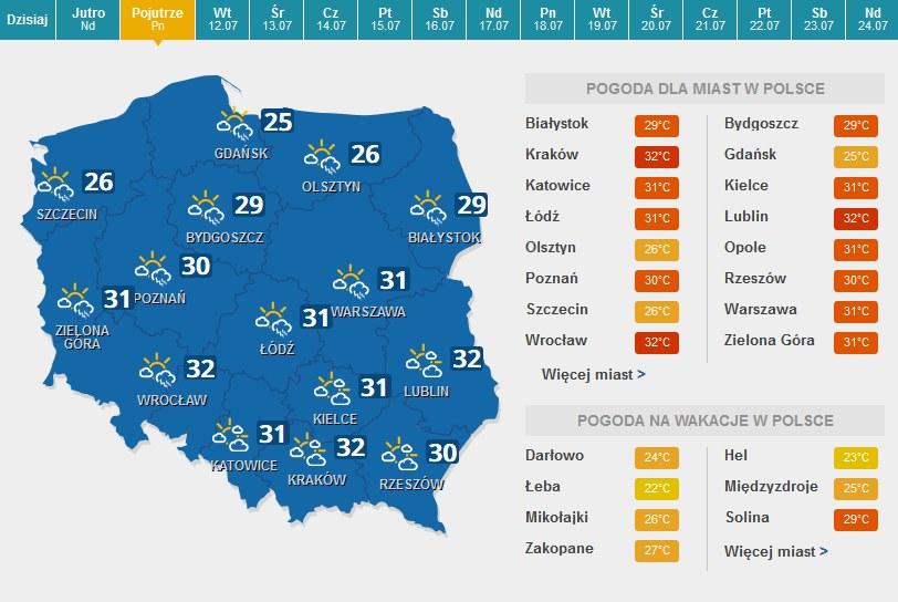 Poniedziałek /Pogoda /INTERIA.PL