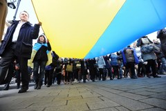 Popieramy Ukrainę. Manifestacja w  Warszawie