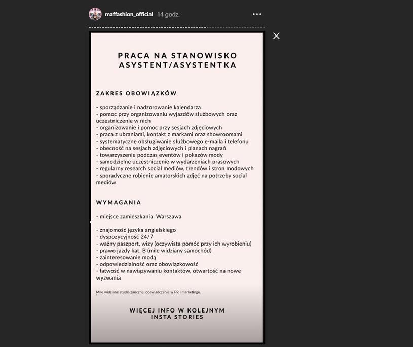 Poprawione ogłoszenie nie zawiera już kryteriów wiekowych /Instagram