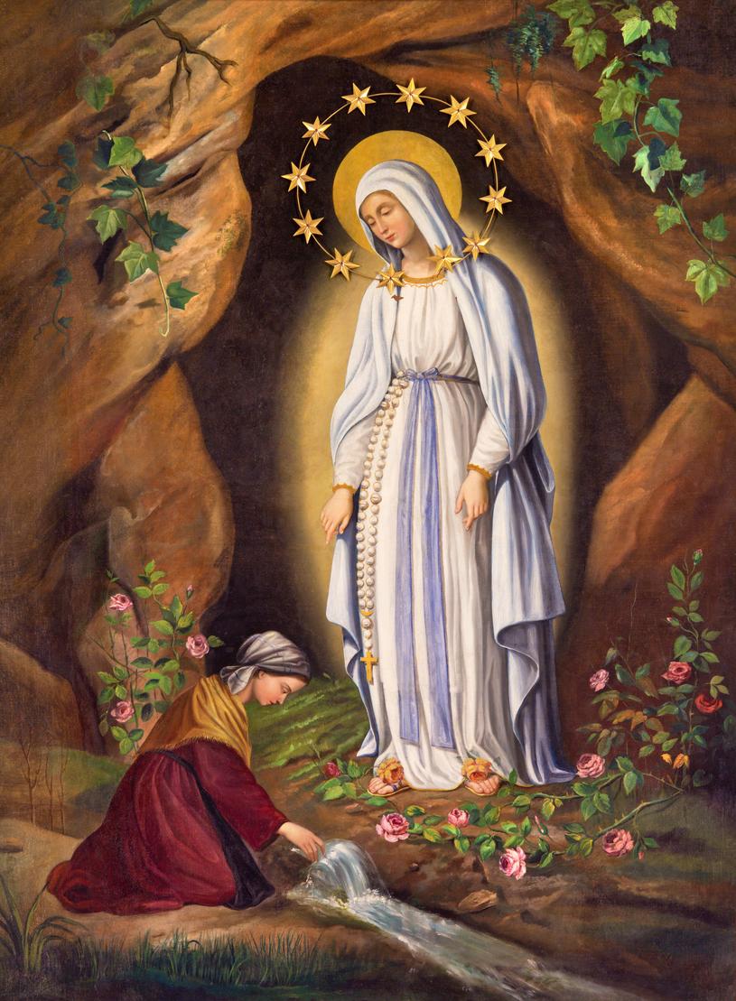 Popularny wizerunek przedstawiający Matkę Boską ukazującą się małej Bernadecie /123RF/PICSEL