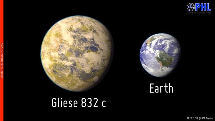 Porównanie Gliese 832 c do Ziemi. Źródło: PHL @ Arecibo /Kosmonauta