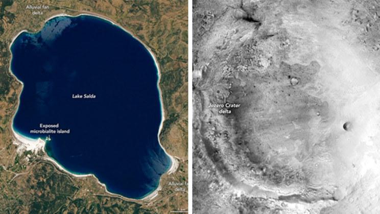 Porównanie jeziora Salda i krateru Jezero /NASA