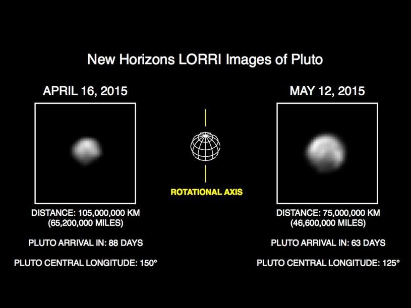 Porównanie obrazów Plutona z 16 kwietnia i 12 maja. /NASA
