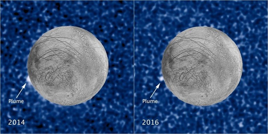 Porównanie obrazu gejzerów na Europie z lat 2014 i 2016 /NASA/ESA/STScI/USGS /materiały prasowe