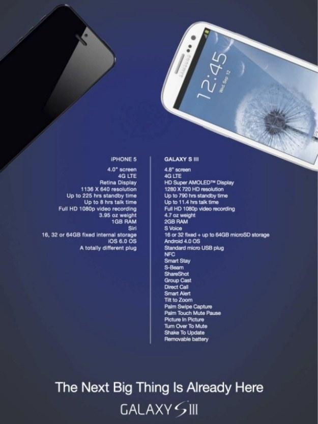 """""""Porównanie"""" obu smartfonów przygotowane przez Samsunga. W sieci krążą już jego modyfikacje /Internet"""