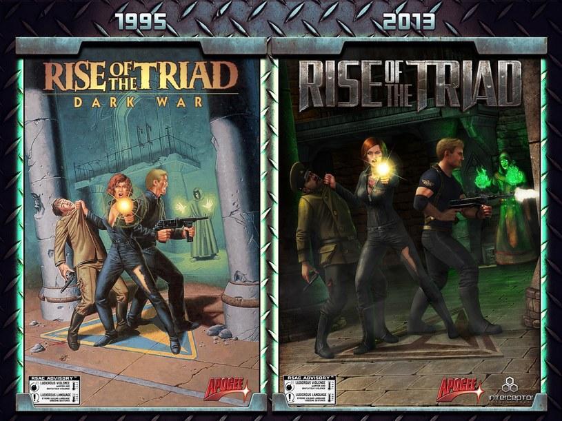 Porównanie okładek ze starej i odświeżonej wersji gry Rise of the Triad /materiały prasowe
