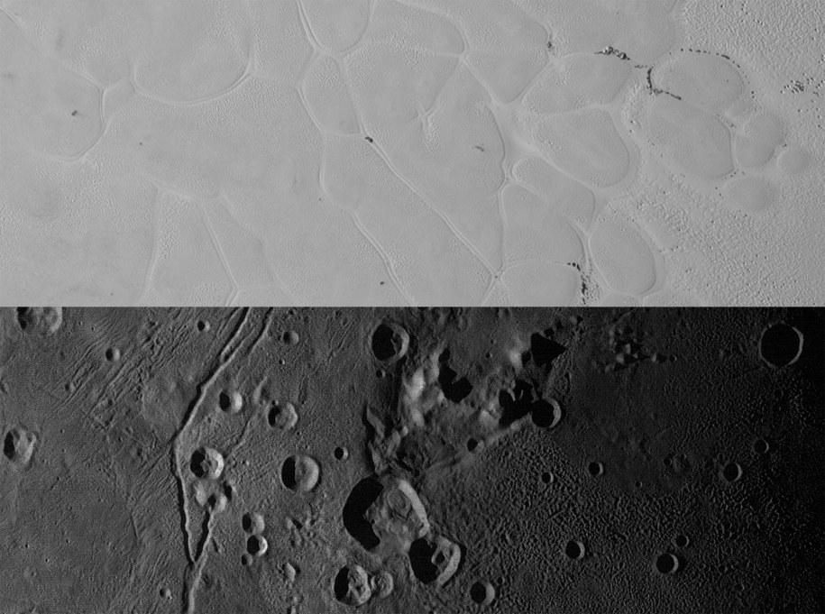Porównanie powierzchni Sputnik Planum (u góry) i Vulcan Planum /NASA/JHUAPL/SWRI /materiały prasowe