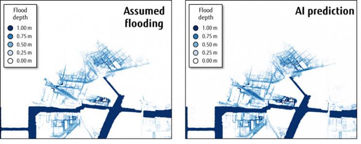 Porównanie prognozy tsunami przeprowadzonej przez Japońskie Biuro Gabinetowe (po lewej) i sztuczną inteligencję (po prawej) /materiały prasowe