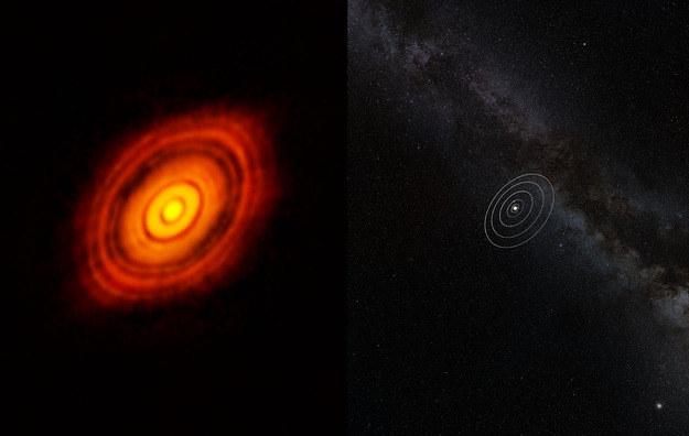 Porównanie rozmiarów dysku wokół HL Tauri (po lewej) i Układu Słonecznego. Źródło: ALMA (ESO/NAOJ/NRAO) /materiały prasowe