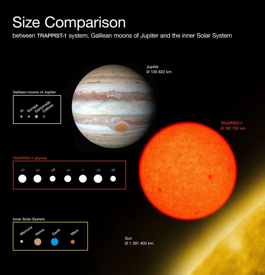 Porównanie rozmiarów planet w systemie TRAPPIST-1 z obiektami w Układzie Słonecznym /ESO/O. Furtak /materiały prasowe