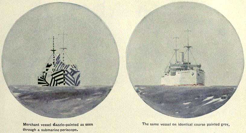 Porównanie statku w standardowym malowaniu i pokrytego kamuflażem Dazzle /Wikimedia Commons /INTERIA.PL/materiały prasowe