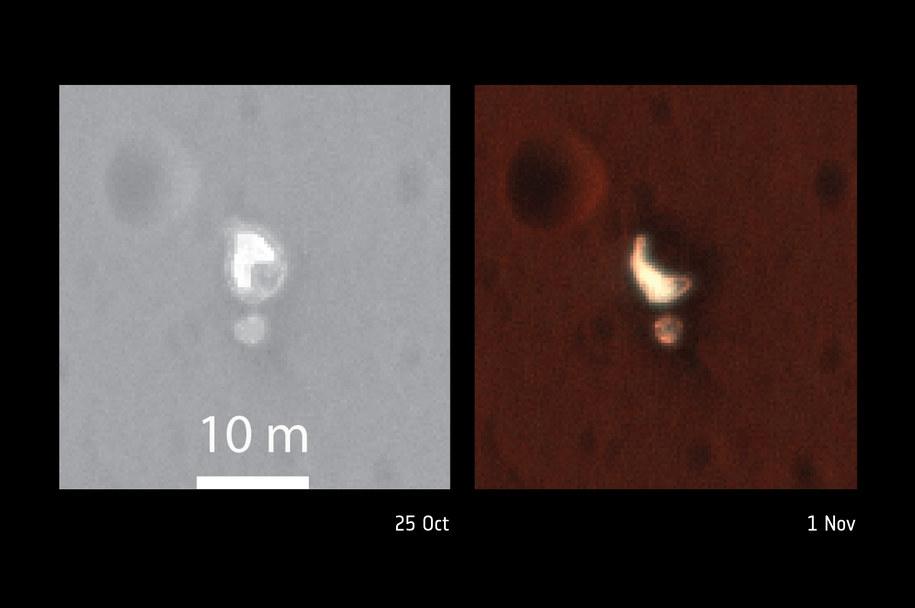 Porównanie ułożenia spadochronu 1 listopada (po lewej) i 25 października /NASA/JPL-Caltech/University of Arizona /materiały prasowe