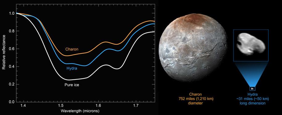 Porównanie współczynnika odbicia powierzchni Charona, Hydry i czystego lodu /NASA/JHUAPL/SWRI /materiały prasowe