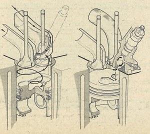 Porównanie zasady wtrysku bezpośredniego stosowanego w Audi 100 (po lewej) i typowego układu wtrysku do komory wirowej. /Motor