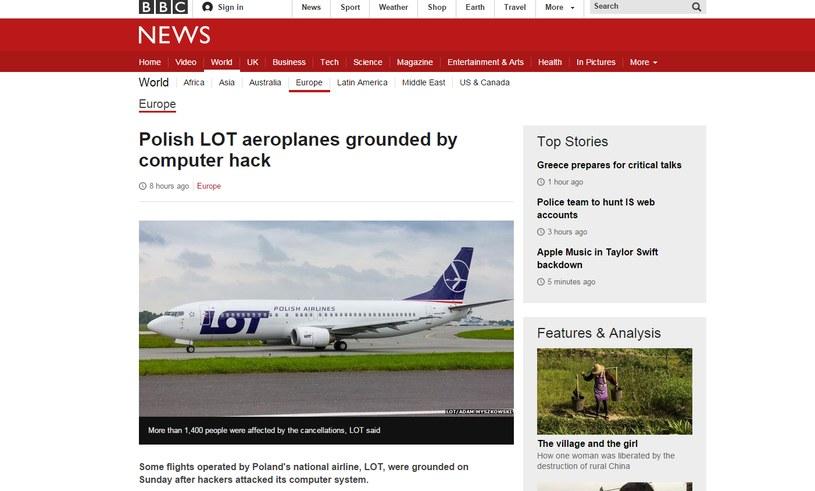 Portal BBC o ataku hakerów na LOT /