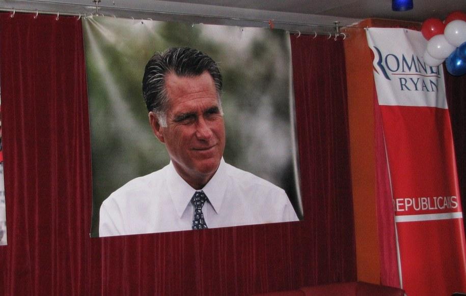 """Portret Romneya w """"narożniku"""" zapełnionym przez jego zwolenników /Maciej Grzyb /RMF FM"""