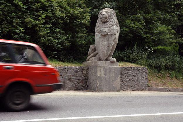 Posąg lwa pochodzący z bramy Cmentarza Orląt na lwowskim Łyczakowie, odnaleziony na trasie wylotowej ze Lwowa na Winniki /Maciej Biernacki /Agencja FORUM