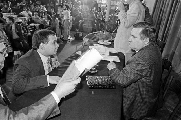 Posiedzenie Komitetu Obywatelskiego. Lech Wałęsa i Jarosław Kaczyński /Jarosław Stachowicz  /Agencja FORUM