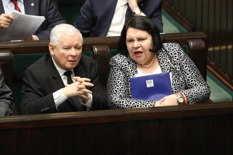 Posłanka Anna Sobecka i prezes PiS Jarosław Kaczyński /Tomasz Jastrzebowski/REPORTER /Reporter
