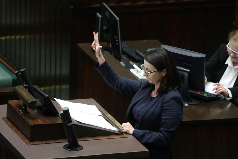 Posłanka Nowoczesnej Kamila Gasiuk-Pihowicz podczas posiedzenia Sejmu /Tomasz Gzell /PAP