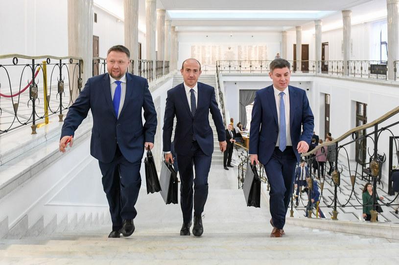 Posłowie Koalicji Obywatelskiej Marcin Kierwiński, Borys Budka i Jan Grabiec /Jacek Domiński/ Reporter /East News
