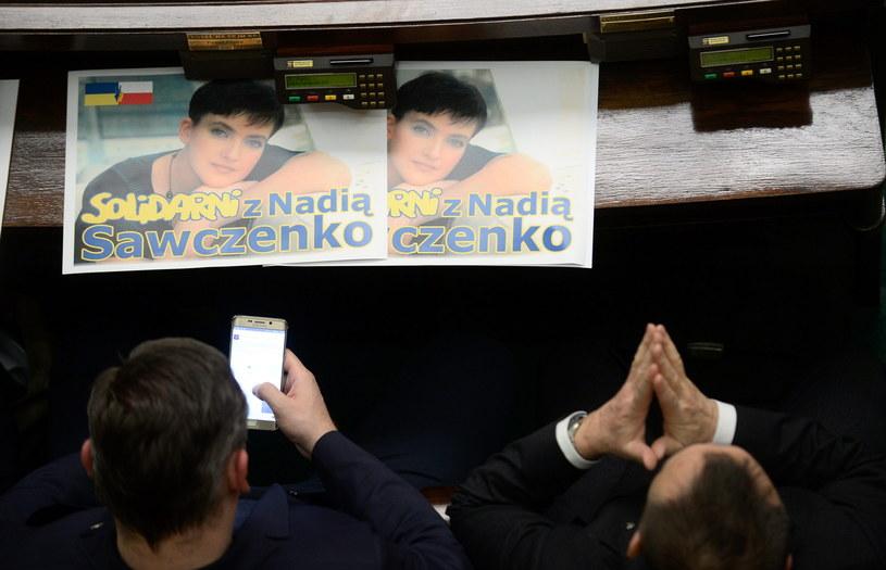 Posłowie wyrazili solidarność z więzioną Nadią Sawczenko /Bartłomiej Zborowski /PAP
