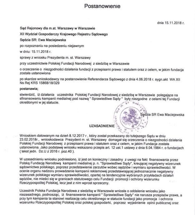 Postanowienie i fragment uzasadnienia sądu ws. PFN /RMF FM