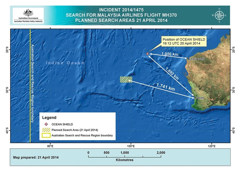 Poszukiwania zaginionego boeinga malezyjskich linii lotniczych /PAP/EPA