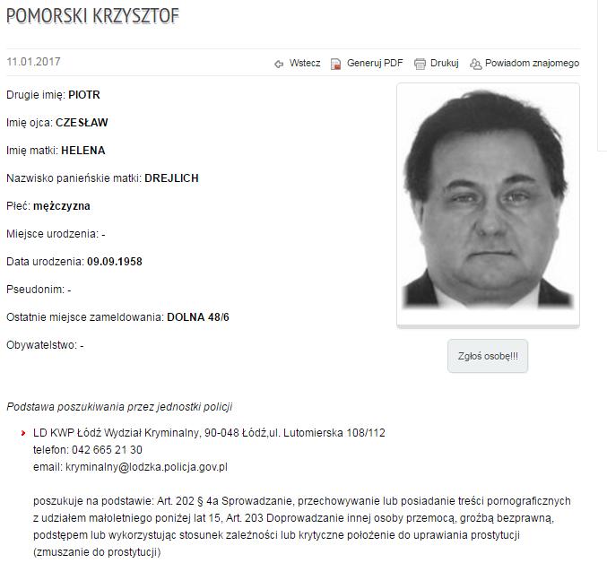 Poszukiwany Krzysztof Pomorski /http://poszukiwani.policja.pl/ /Policja