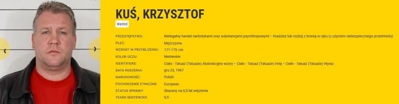 Poszukiwany przez Europol Krzysztof Kuś /eumostwanted.eu /