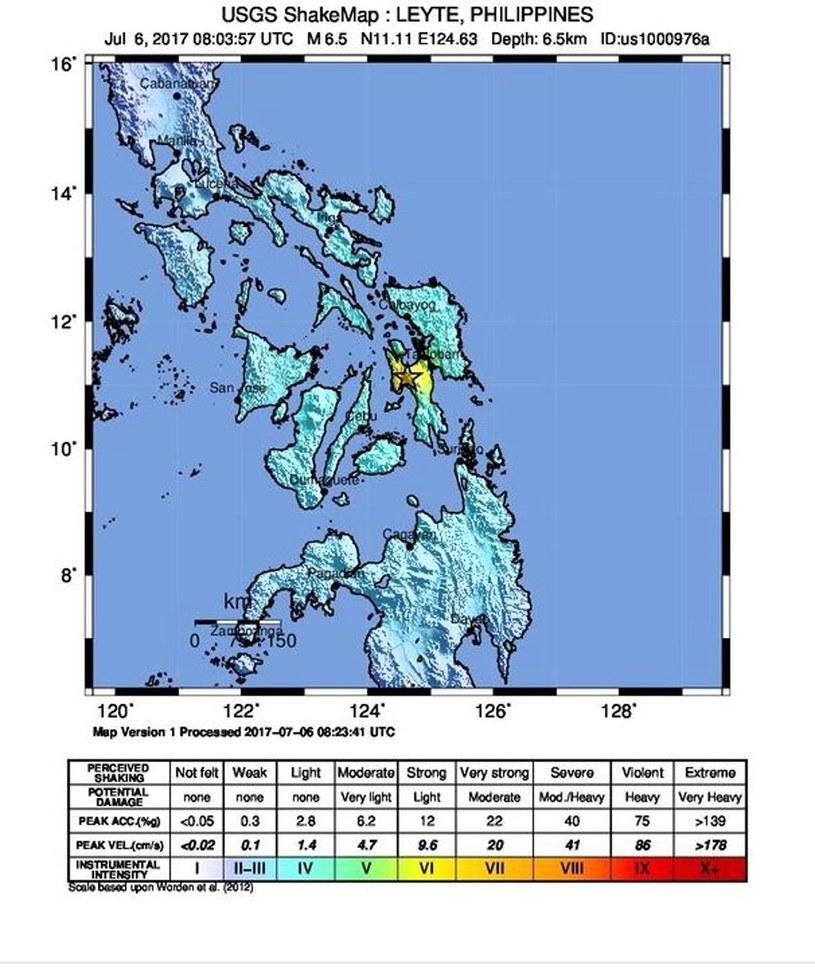 Potężne trzęsienie ziemi na Filipinach /UNITED STATES GEOLOGICAL SURVEY /PAP/EPA