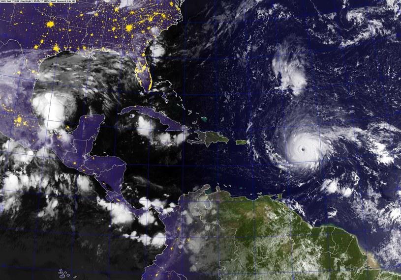 Potężny huragan Irma, który osiągnął najwyższą - piątą - kategorię w skali Saffira-Simpsona /US NAVY /PAP/EPA