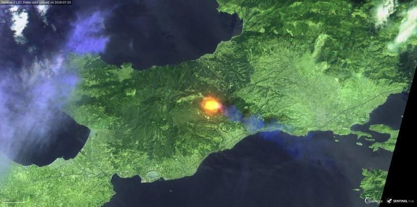 Potężny pożar w Grecji na zachód od Aten – zdjęcie z 23 lipca 2018 z satelity Sentinel 3. Fot.  Sinergise, ESA /materiały prasowe