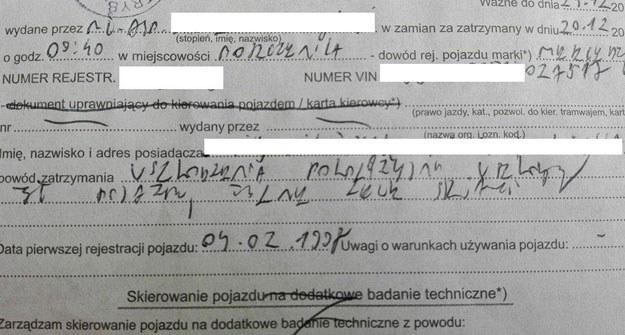 Potrafi ktoś odczytać ten dokument? /Fot. https://www.facebook.com/SfotografujPolicjanta/?ref=hl /