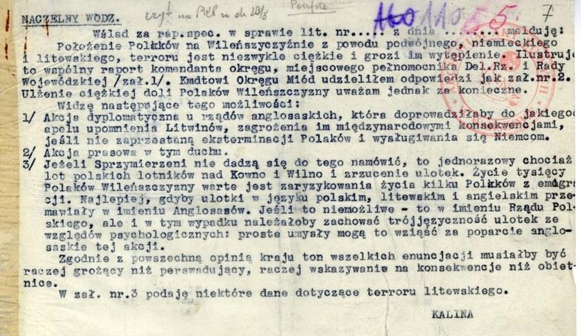 Poufna depesza gen. Stefana Roweckiego ps. Grot do Naczelnego Wodza gen. Władysława Sikorskiego /Archiwum Akt Nowych /INTERIA.PL