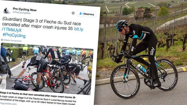 Poważna kraksa na trasie wyścigu kolarskiego w Luksemburgu. Fot. PAP/Twitter /INTERIA.PL