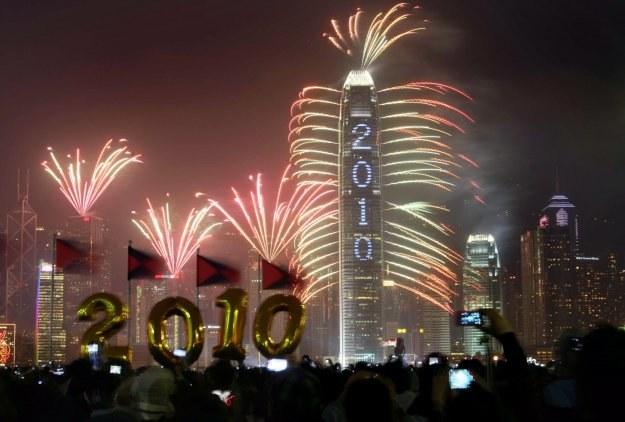 Powitanie 2010 roku w Hongkongu /AFP