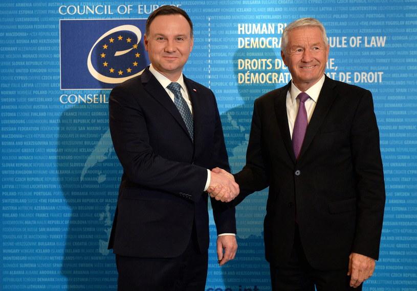 Powitanie Prezydenta RP Andrzeja Dudy przez Sekretarza Generalnego Rady Europy Thorbjorna Jaglanda /Jacek Turczyk /PAP