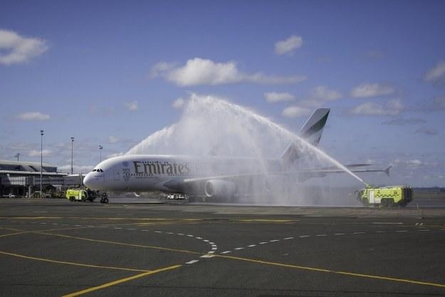 Powitanie samolotu w Auckland. Fot. Emirates /materiały prasowe
