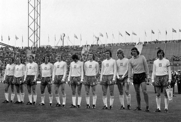 Polska reprezentacja na MS 1974 przed meczem z Haiti (7:0 dla Polski)