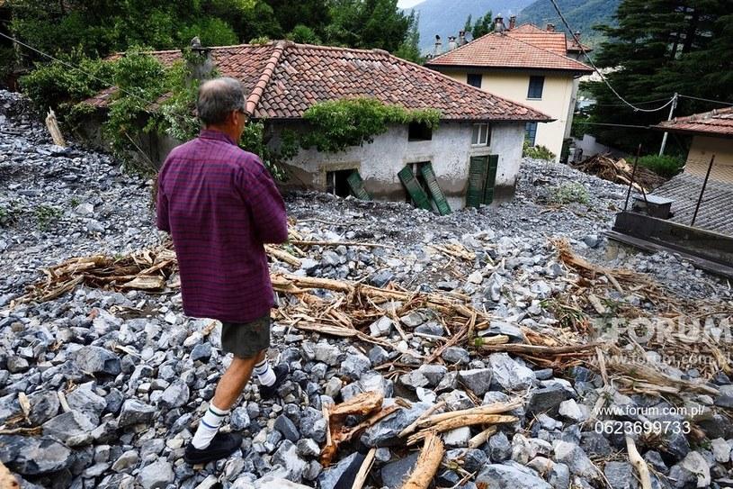 Powodzie we włoskim Como Skutki powodzi we Włoszech /Agencja FORUM