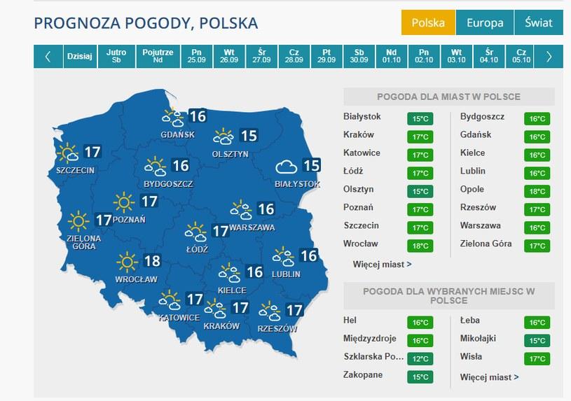 Powrót pogodnej aury we wtorek 10 października /INTERIA.PL