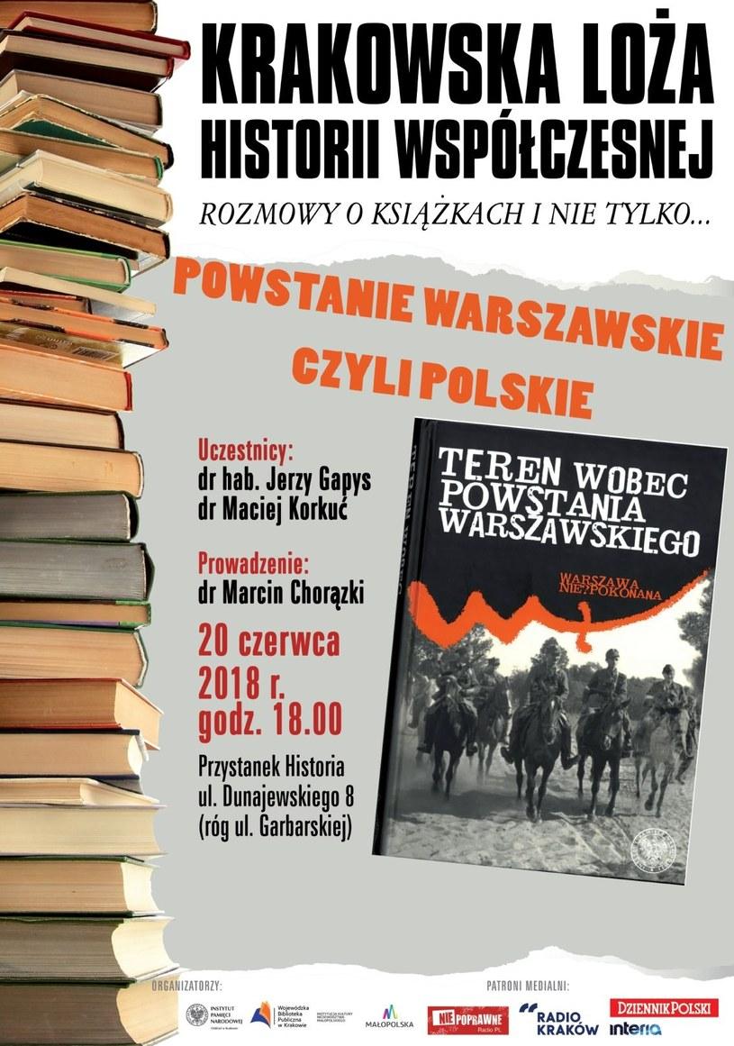 """""""Powstanie warszawskie czy polskie"""" - spotkanie w Krakowskiej Loży Historii Współczesnej /IPN"""