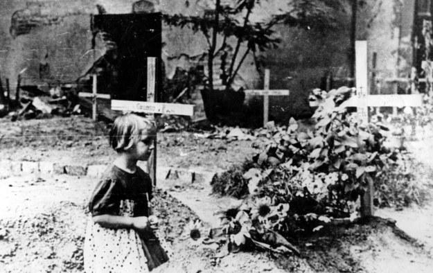 Powstanie warszawskie. Dziewczynka klęczy przed ulicznymi grobami powstańców /Z archiwum Narodowego Archiwum Cyfrowego