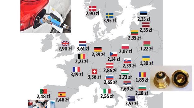 Poza Danią i Finlandią nie ma problemów z dostępnością stacji LPG. Podane ceny (wg danych PZMot) przeliczone zostały na złotówki. /Motor