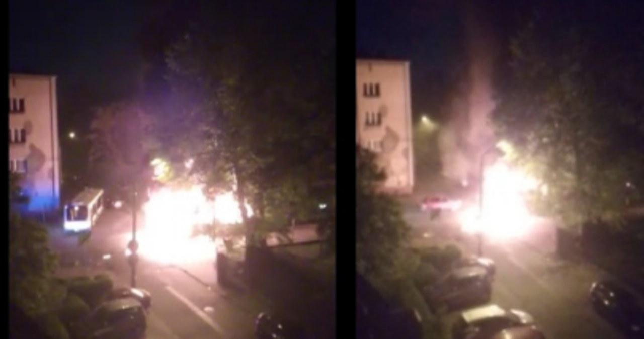 Pożar autobusu w Bytomiu. Kierowca uciekł z pojazdu