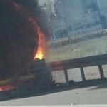 Pożar cysterny na autostradzie A4 we Wrocławiu. Droga była zablokowana w obie strony