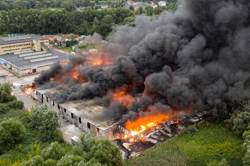 Pożar hali magazynowej w Konstancinie-Jeziornie / Leszek Szymański    /PAP