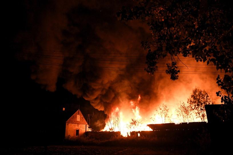 Pożar hali z odpadami w miejscowości Grabów /Grzegorz Michałowski /PAP